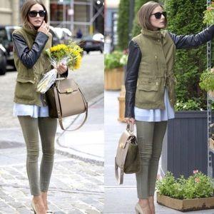 Zara Lamb Leather Sleeve Green Army Utility Jacket